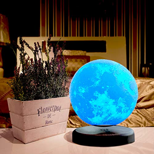 LEVILUNA 7.1'' /16 Colors Magnetic Levitating Moon lamp, 3D Seamless Printed &Touch Control, Magic Night Light, Creative Gifts for him, Best Business for Your Customer (7.1''/16colors) by Zeegine (Image #4)