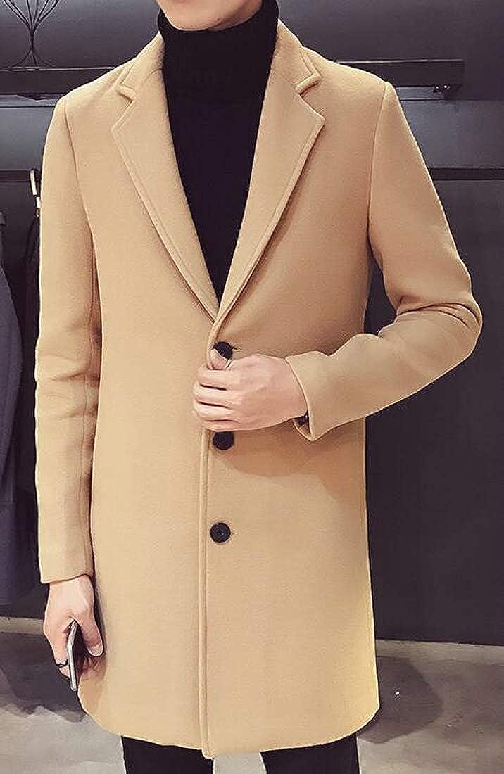 Pluszing Men Winter Slim Outerwear Lapel Collar Single Breasted Pea Coat