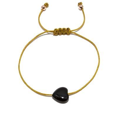 Bracelet Amour Coeur Femme Avec Onyx Textile Éternel Jahamota XPZOkiu