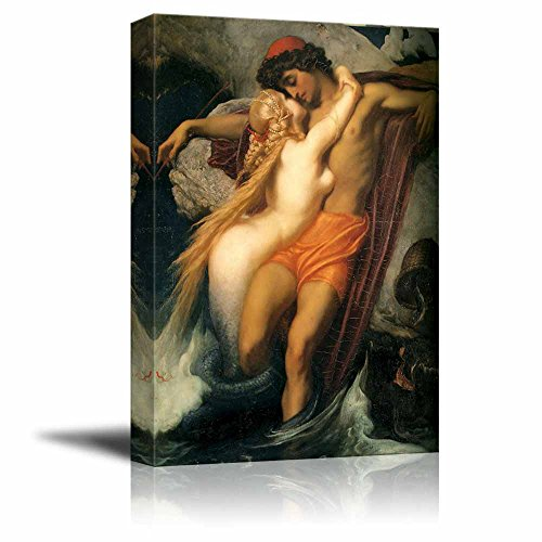 wall26 - The Fisherman and The Syren by Frederic Leighton - Canvas Print Wall Art Famous Painting Reproduction - 24