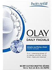 Olay Daily Facials Soap-Free Eye Makeup Remover and 4-In-1 Water Activated Facial Cleanser Cloths, Deeply Clean 66 Count  Packaging may Vary