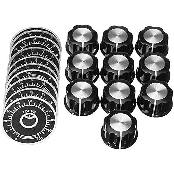 5 UNIDS Perilla del potenci/ómetro,moleteadas Potenci/ómetro Perilla Control de volumen Cap Digital Dial Placa de escala MF-A03