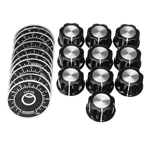 HITSAN 10 Sets MF-A03 Bakelite Potentiometer Knob Cap Hat + 0-100 Digital Dial Scale Plate One ()