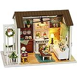 Cuteroom Dollhouse Miniature DIY Dolls House Kit Room with Furniture Handicraft Xmas gift Happy Time
