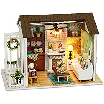 Amazon flever dollhouse miniature diy house kit creative room cuteroom dollhouse miniature diy dolls house kit room with furniture handicraft xmas gift happy time solutioingenieria Gallery