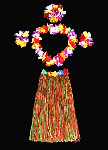 Hawaii Dancing Hula Grass Skirt Adult Costume Suit(Skirt color:multicolor,thicken) by (Game Show Themed Costumes)