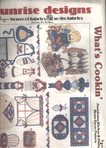 Sunrise Designs What's Cookin' Sewing Pattern 229 for 21 Sewing Projects Including Apron, Doll, Pieced Pot Holder Heart, Wall Hanging, Runner Place Mat, Frame, Chair Pad, Mit, Curtains, Tablecloth, & More