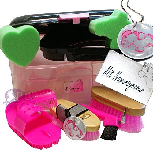 Kinder Pferde Putzbox Schutzengel pink (gefüllt) mit Namensgravur