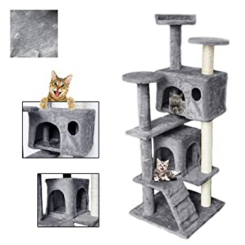 Vingo® gris prämie gato Rascador Massive construcción Rascador de esquina con diferentes plataformas Perspectiva Fácil montaje: Amazon.es: Productos para ...