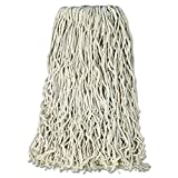 Rubbermaid Commercial F118-00 WH00 RCPF11812 Premium Cut-End Cotton Wet Mop Head, 24 oz., 1'' Orange Band, White (Pack of 12)