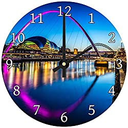 hiusan Pink Blue River City Bridge Wood Wall Clocks Decorative Living Room,Wall Clock Non Ticking,12in,Silent,for Kids