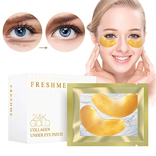 Crystal 24K Gold Collagen Eye Pads - 20 Pairs Gel Eye Treatment Mask for Eyes Puffiness Anti Aging Removing Bags Deep Hydration Relieve Dark Circles Under Eye Patch for Women and Men (gold) ()