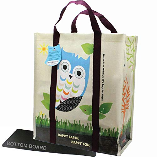 EcoJeannie 5 pack Super Strong X-Large Laminated Woven Reusable Shopping Tote Bag (Avail: Set of 1,2,3,4,5 Bags), Free Standing, Recycled Plastic w/Bottom Board & Reinforced Nylon Handle - WTS051
