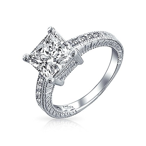 Bling Jewelry Sterling Silver 2.9ct CZ Princess Cut Engagement Ring