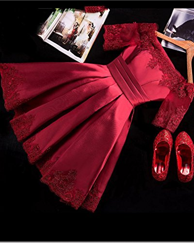 Rosso Abito Corto da Vestito D LY Abbigliato Damigella Brindisi Sposa Corto da Abito D'Onore Sera fq1wqSR8z