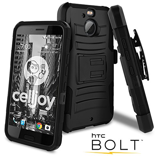 Celljoy Case compatible with HTC Bolt, HTC 10 EVO model [[Will NOT FIT HTC 10]] [Ultra Rugged Hybrid] ((ShockProof)) Impact Bumper [Heavy Duty] Protection [Kickstand] [Belt Clip Included!] ()
