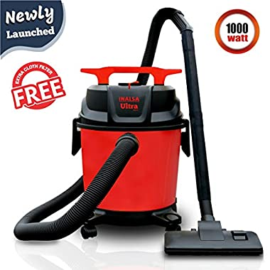 Inalsa Ultra WD10 Wet & Dry Vacuum Cleaner-1000W with 3in1 Multifunction Wet/Dry/Blowing  14KPA Suction and Impact Resistant Polymer Tank,(Red/Black) 9