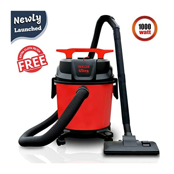 Inalsa Ultra WD10 Wet & Dry Vacuum Cleaner-1000W with 3in1 Multifunction Wet/Dry/Blowing  14KPA Suction and Impact Resistant Polymer Tank,(Red/Black) 2