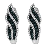 Sterling Silver Round Cut Diamonds Earrings (0.50 cttw, Blue Color, I1-I2 Clarity)
