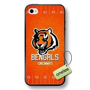 NFL Cincinnati Bengals Team Logo iPhone 4/4S Black Soft PC (Hard) Case Cover - Black