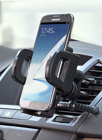 Car Phone Mount-Universal 3 Way Car Phone Holder- mount on Windshield, Dash or Vent! (Black) Fits Apple iPhone 6, 6 Plus, 5S, 5C, 5,4S, 4, Samsung Galaxy and Note, HTC, Motorola , Nokia, Google, LG, most any iPhone, Android, Blackberry, Amazon, or Windows Phones up to 3.5 Inches-3 in 1.