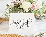 Bliss Paper Boutique Reserved Signs for Wedding, 4x6 Reserved Table Cards, Table Setting Cards - Pack of 10 from