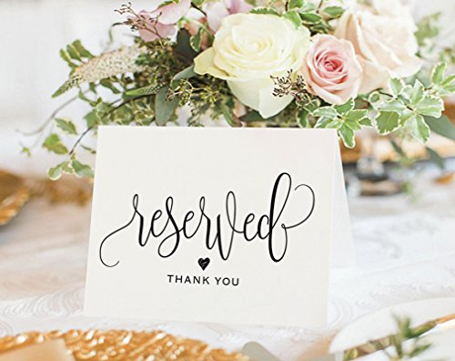 Reserved Signs for Wedding, 4x6 Reserved Table Cards, Table Setting Cards - Pack of 10 from Bliss Paper Boutique ()