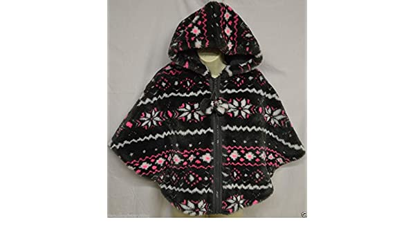 fd34882a3ca81 Amazon.com  Justice Girl s Faux Fur Fleece Lined Hooded Zip Up Cape Poncho  Coat Size 10  Clothing
