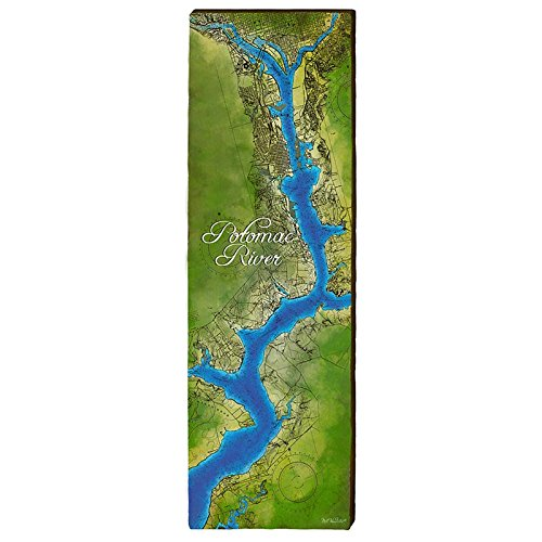 MILL WOOD ART Potomac River Map Home Decor Art Print on Real Wood ()