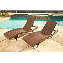 Palermo Abbyson Outdoor Brown Wicker Chaise Lounge Set