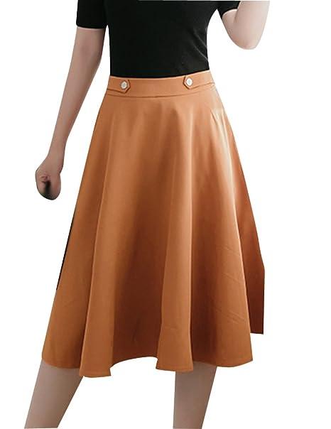 b3c8e420c1 Gladiolus Midi Falda con Dos Bolsillos para Mujer Elegante Elástica  Columpio Faldas Semi Largas Amarillo XL  Amazon.es  Ropa y accesorios