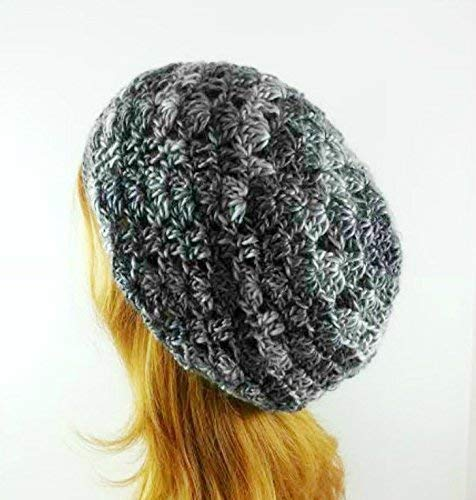 36690dd24b4 Amazon.com  Gray Slouchy Beanie Hat for Women Lightweight Made in USA   Handmade
