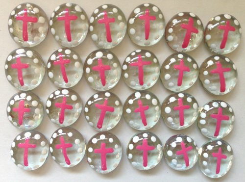Confirmation Candle Glass (CROSS (PINK) - Set of 24 Hand Painted Glass Gems; Party Supplies, Party Favor, Decoration, Token, Memoir, etc.let your imagination run wild!)