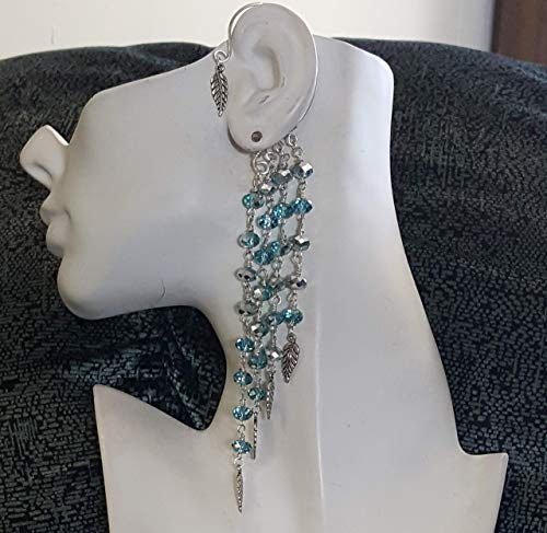 Copper Leaf Waterfalls (Silver and Turquoise Blue Crystals with Silver Leaves Waterfall Wire Wrapped Ear Cuff for Non-Pierced Ears)