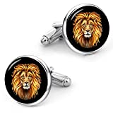 Kooer Male Lion Cufflinks Custom Personalized Wedding Cuff Links Vintage Handmade Lion Head Cufflinks
