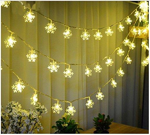 [40 LED Warm White Christmas Snowflake Waterproof Battery LED Flash Lights String Decoration Festival Wedding Landscape] (Disney Ideas Costumes)
