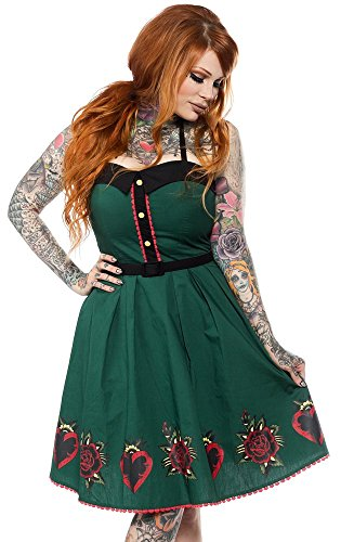 Sourpuss Hearts and Roses Spooksville Dress XL - Heart Rose Tattoo Dress