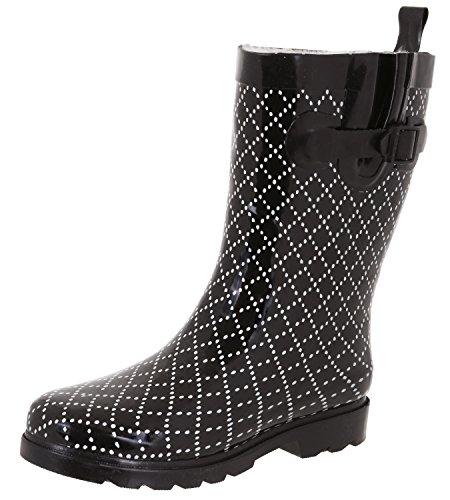 Capelli New York Ladies Collegiate Plaid Printed Mid Calf Rain Boots Black Combo