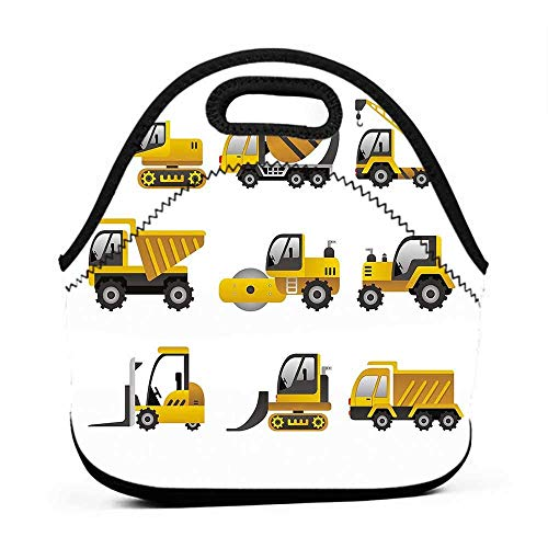 for Womens Mens Boys Girls Construction,Big Vehicles Icon Collection Engineering Building Theme Clip Art Style,Yellow Grey White,cute lunch bag for women ()