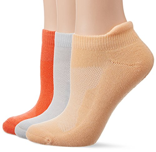 ASICS Women's Cushion Low Cut Socks (3 Pack), Coralicious Assorted, Large