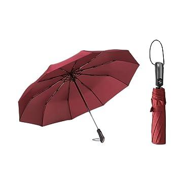 Sabarry Sol Paraguas Grande Stock Pantalla Mujer UV Funda Pantalla automático Rojo Wine Red Color Talla