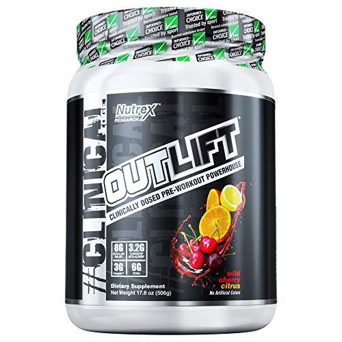 Nutrex Research Outlift | Clinically Dosed Pre-Workout Powerhouse, Citrulline, BCAA, Creatine, Beta-Alanine, Taurine, Banned Substance Free | Wild Cherry Citrus | 20 Servings