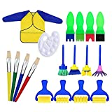 18 PCS Early Learning Sponge Painting Brushes for Kids Children Drawing Brush Set with Apron and Palette Art Craft DIY Doodle Tools