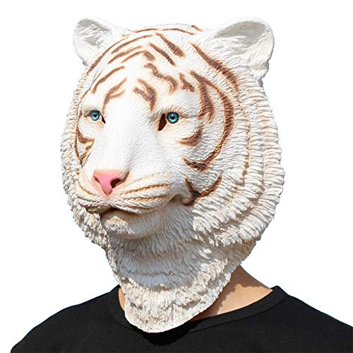 PartyHop - White Tiger Mask - Halloween Latex Forest Animal Head Mask -