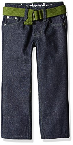 Akademiks Kids Boys' Little Boys' 5 Pocket Belted Jeans, Raw Indigo, 4