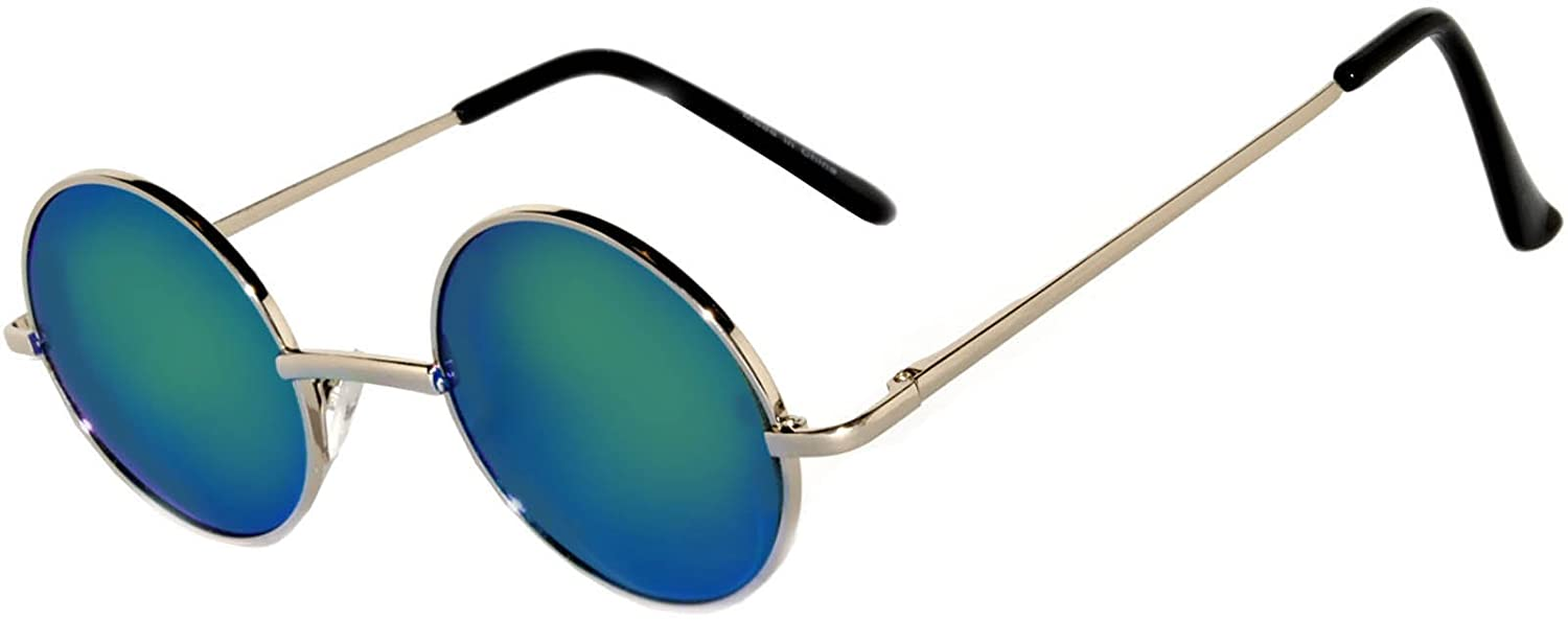 e72a6734fe Amazon.com  Round Retro Vintage Circle Style Sunglasses Mirrored Blue-Green Lens  Metal Frame  Clothing
