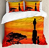 VROSELV-HOME African Woman Duvet Cover Set King Size,Rural Countryside Landscape Mother and Child at Sunset Acacia Tree,Bedding Set Print Duvet Cover Set Lifelike Bed Sheet,Yellow Scarlet Black