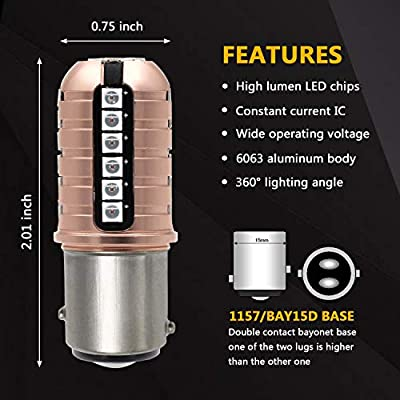 Phinlion 7528 LED Brake Light Bulb Super Bright 3000 Lumens 3030 27-SMD 1157 2057 2357 LED Bulbs for Turn Signal Blinker Tail Stop Lights, Pure Red: Automotive