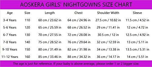 Big Girls' Animal Nightgowns Bunny Sleepwear Cotton Nightie Pink for Size 14 by AOSKERA (Image #7)