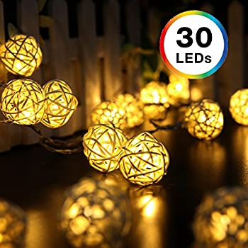 Rattan String Lights, DecorNova 19.7 Feet 30 LED Battery Operated Globe Ball String Lights with 3 AA Battery Case & 2 Lighting Modes for Bedroom Camping Christmas Tree Party Wedding, Warm White